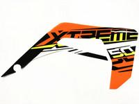 Etukatteen tarra (oranssi, oikea), Derbi Senda X-Treme 18->