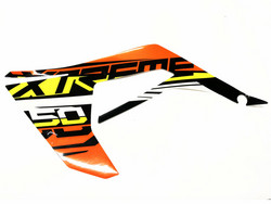 Etukatteen tarra (oranssi, vasen), Derbi Senda X-Treme 18->