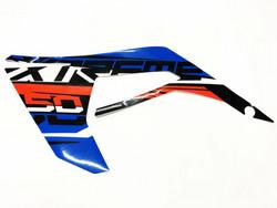 Etukatteen tarra (sininen, vasen), Derbi Senda X-Treme 18->