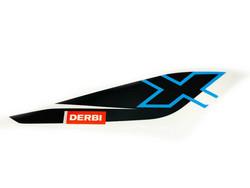 Takakatteen tarra (puna/valko/musta, vasen), Derbi Senda DRD X-Treme 10-17