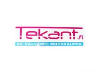 Tekant.fi tarra, valko/pinkki/sini 10cm x 3cm