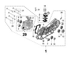 Moottorinlohkojen kiinnityspultti M6x60mm, Peugeot skootterit (pysty)