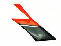 Etukatteen sivutarra (vasen, puna/musta), Aprilia RX/SX 06-17