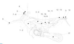 Takakatteen alempi tarra, oikea (puna/musta), Aprilia RX/SX 06-17