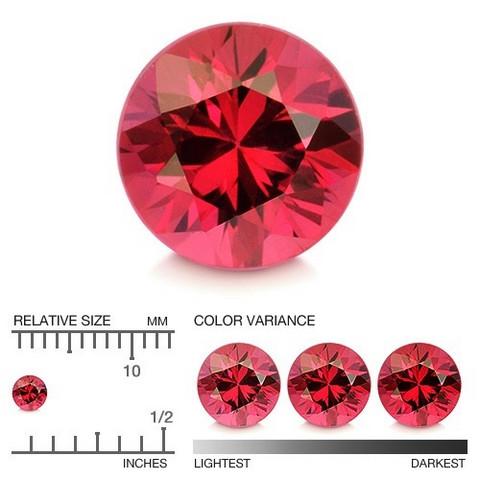 Rubiini  pyöreä briljantti 3,2mm