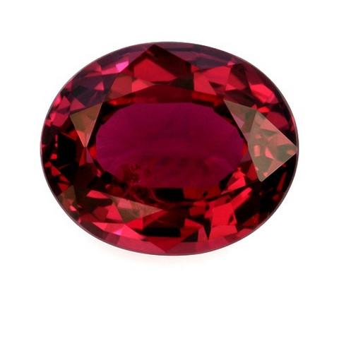 Ovaali kirkas rubiini kuvallisella aitoustodistuksella
