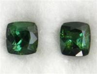 Vihreä kromi turmaliini pari Burmasta 1,4ct / 5mm