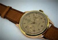 Chronographe Suisse Cie by Crown Watch, 18ct kultainen harvinaisuus huollettuna