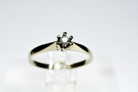 18ct valkokultainen kirkas timanttisormus 0,09ct / 2,9mm
