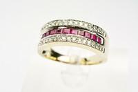 Rubiini / timantti sormus, valkokultaa uutta vastaavassa kunnossa