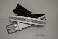 Mark Todd patentoitu kiiltonahkavyö timanteilla (valkoinen 95cm)