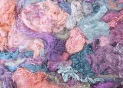 silkkitrasseli 10 g, Pastellisävyt, käsinvärjättty silkki