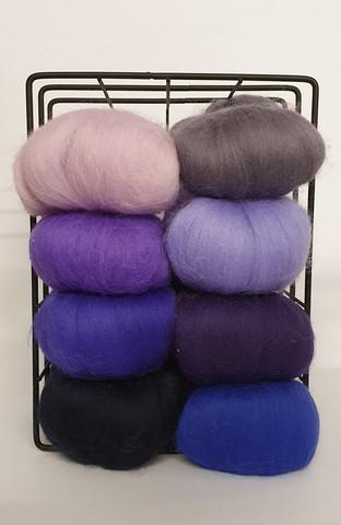 Merinovilla- topsi värilajitelma, sinivioletit sävyt