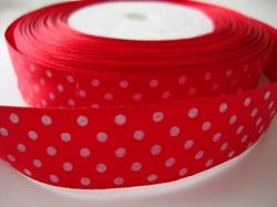 Nauha 1 m lev. 19 mm, punainen pilkku satiininauha