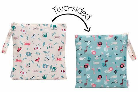 FlapJackKids Kaksipuolinen Wet Bag - Pink Zoo