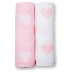 Lulujo Harsoliinat 2 kpl, Pink Hearts, Modern Me Collection