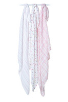 Lulujo iso puuvillaharso 120 cm x 120 cm Pink Floral 3 kpl