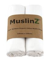 Muslinz harso bambu/puuvilla 120 cm x 120 cm valkoinen/lehti 2 kpl