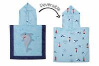 FlapJackKids Kaksipuolinen Vauvan ponchopyyhe (Shark/Nautical)