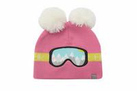 FlapJackKids Lasten Neulepipo - Ski Goggles - Pink