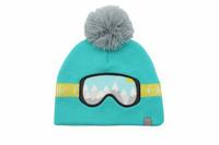 FlapJackKids Lasten Neulepipo - Ski Goggles - Turquoise