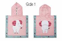 FlapJackKids Kaksipuolinen Vauvan ponchopyyhe hupulla (Elephant/ Zoo)