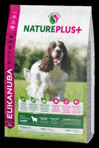 EUKANUBA Nature Plus+  Lammas Adult Medium Breed Dog Food Rich in Freshly Frozen Lamb -keskikokoisille koirille