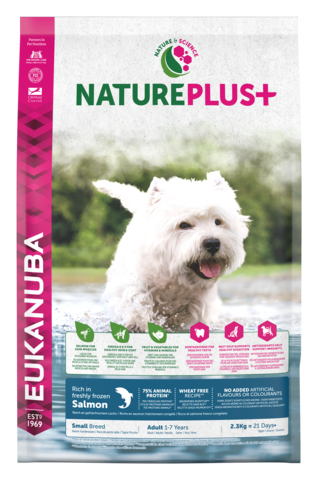EUKANUBA Nature Plus+  Lohi Adult Small Breed Dog Food Rich in Freshly Frozen Salmon 2,3kg