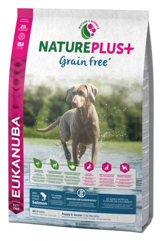 EUKANUBA NaturePlus+ Viljaton  Lohi Puppy & Junior Dog Food with Freshly Frozen Salmon 2,3kg