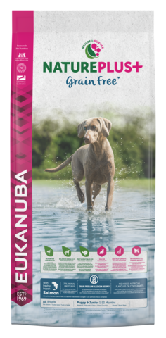 EUKANUBA NaturePlus+ Viljaton  Lohi Puppy & Junior Dog Food with Freshly Frozen Salmon 14kg