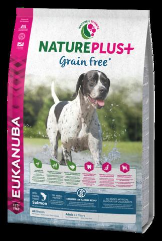 EUKANUBA NaturePlus+ Viljaton  Lohi Adult All Breed Dog Food Rich in Freshly Frozen Salmon 2,3kg