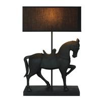Upea  seisova hevonen pöytävalaisin, musta