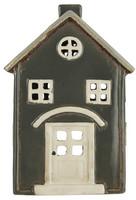 Ib Laursen keraaminen talokoriste pikkutalo harjakatto kaari ovenpäällä
