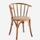 Puinen tuoli kaarevalla selkänojalla jalavaa, rottinkinen istuinosa, ruskea