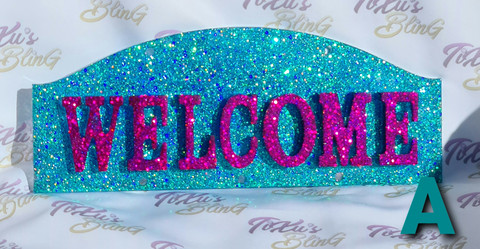 Welcome - Glitter ovikyltti (vaihtuvia kuoseja)