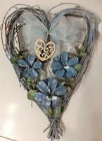 Sininen sydän  kukkakranssi