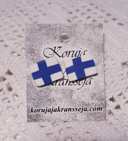 Suomenlippu nappikorvakorut