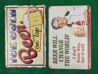 Nostalgisia Olut mainoksia peltitauluissa 37kpl 2,50€ kpl.