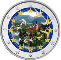 Slovenia 2 € 2017 Euron käyttöönotosta 10 v. väritetty