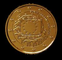 Suomi 2 € 2015 EU:n lippu 30 vuotta kullattu