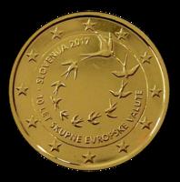 Slovenia 2 € 2017 Euron käyttöönotosta 10 v. kullattu