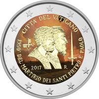 Vatikaani 2 € 2017 Pyhä Pietari & Pyhä Paavali väritetty