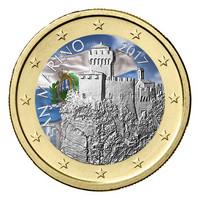 San Marino 1 € 2017 La Césta UNC väritetty