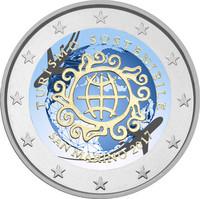 San Marino 2 € 2017 Kestävän matkailun vuosi väritetty