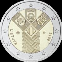 Liettua 2 € 2018 Baltia yhteisjulkaisu: Itsenäisyys 100 vuotta
