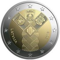 Latvia 2 € 2018 Baltia yhteisjulkaisu: Itsenäisyys 100 vuotta