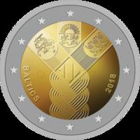 Latvia, Liettua & Viro 3 x 2 € 2018 Itsenäisyys 100 vuotta