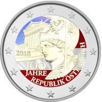 Itävalta 2 € 2018 Itävallan tasavalta 100 vuotta väritetty