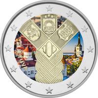 Liettua 2 € 2018 Baltia yhteisjulkaisu: Itsenäisyys 100 vuotta väritetty