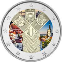 Latvia 2 € 2018 Baltia yhteisjulkaisu: Itsenäisyys 100 vuotta väritetty